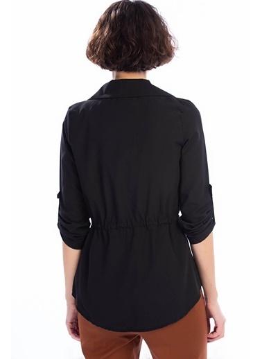 Cottonmood 8402379 Viskon Beli Bağcıklı Uzun Kol Ceket Siyah Siyah